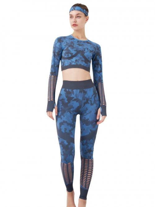 Blue Yoga Suit With Headband Thumbhole Seamless For Exercising