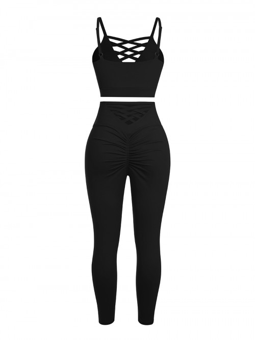 Black Adjustable Straps High Waist Athletic Suit For Running Girl