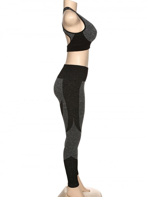 Individualized Black Seamless Yoga Suit Cross Hollow Back Running