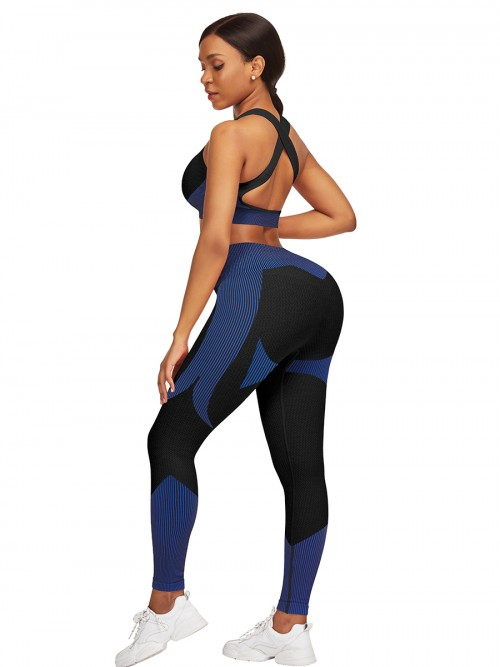 Fabulous Dark Blue Strap Crop Top High Waist Leggings Women's Clothing