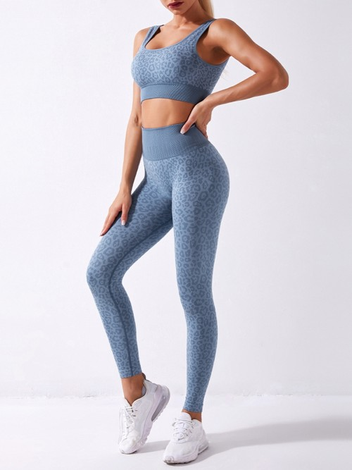 Blue Seamless Yoga Bra Leopard Legging Outfits Casual Wear