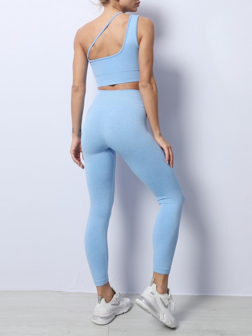 Blue Removable Pad Slanting Straps Yoga Outfit Lightweight