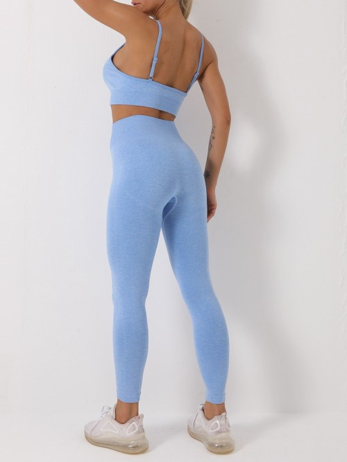 Blue Spaghetti Straps Sports Bra Suit Seamless Exercise Outfit