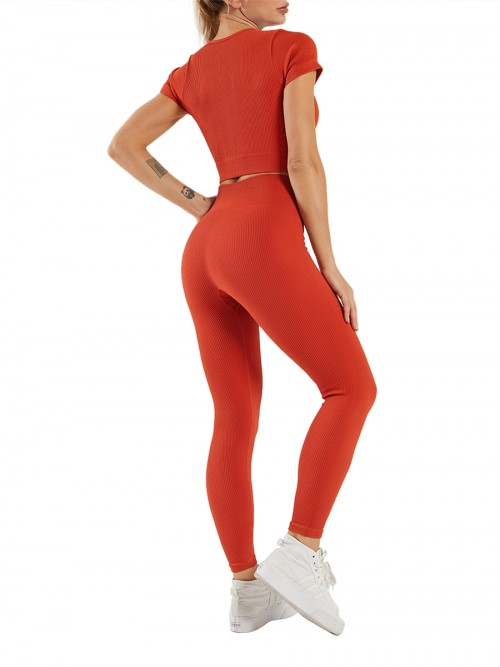 Crop Seamless Yoga Top High Waist Leggings Running Clothes