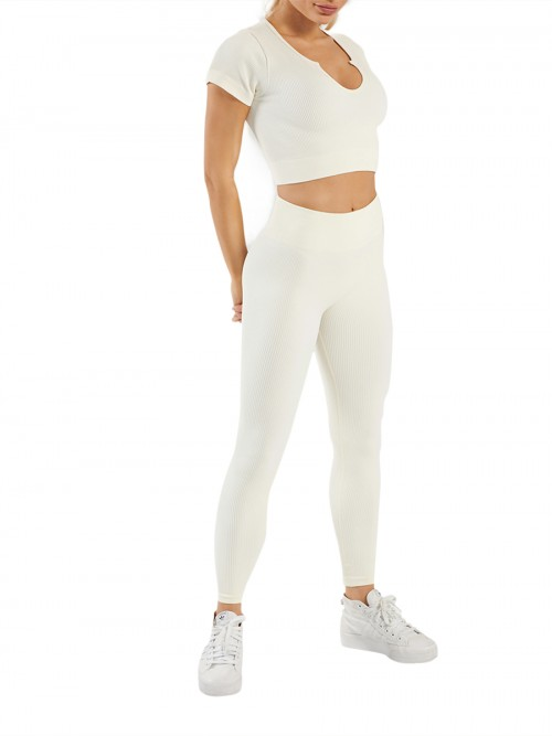 Off White Seamless Yoga Suit High Waist Low-Cut Neck Wholesale