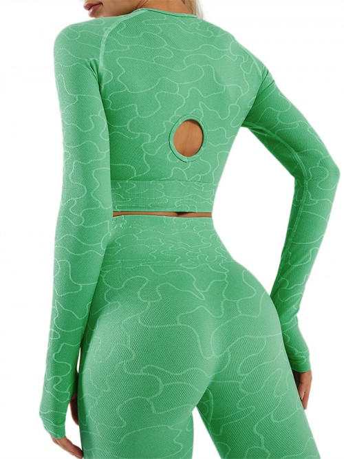 Green Raglan Sleeve Ankle Length Running Suit Stretchy