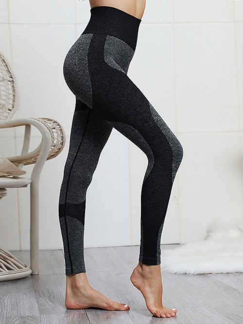 Black Ribbed High Waist Knitted Yoga Legging Athletic Outfit