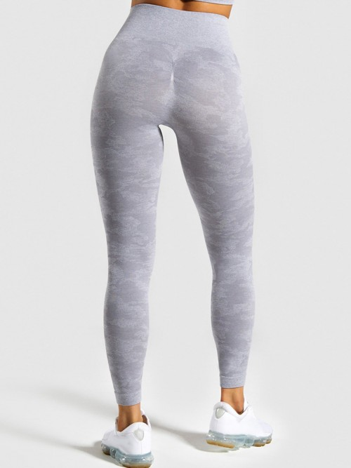 Light Gray High Rise Athletic Leggings Full Length Fashion Forward