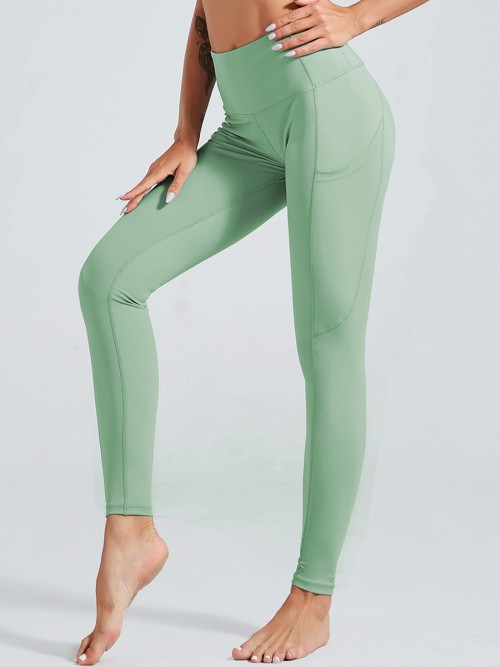 Breathable Green Tummy Control Full Length Yoga Pants For Ladies