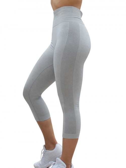 Chosen Light Gray Wide Waistband Yoga Pants High Waist Workout Clothes