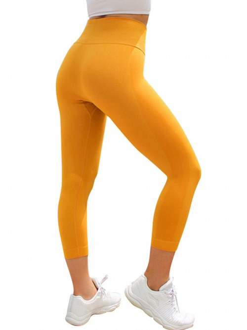 Adorable Yellow Seamless High Waist 3/4 Yoga Legging Online