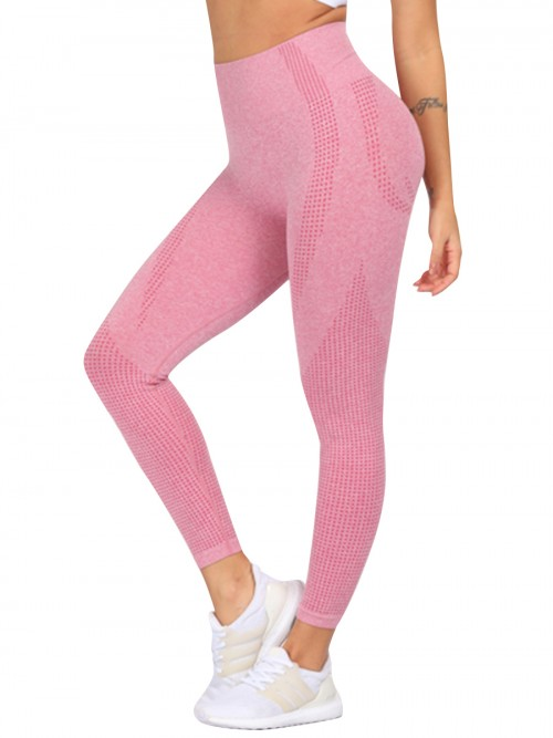 Body Hugging Pink Solid Color Sports Leggings Seamless Ultimate Comfort