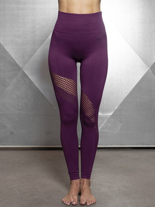 Explicitly Chosen Purple Ankle Length Hollow Out Sports Legging