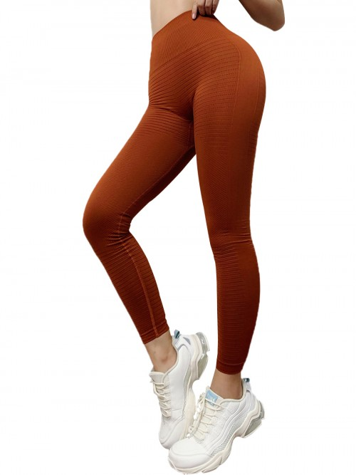 Fasinating Khaki Athletic Leggings Solid Color High Rise Training Apparel