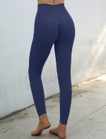Blue Yoga Leggings Shirred High Rise Solid Color Running Outfits