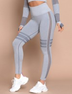 Simply Light Blue Mesh Patchwork Yoga Leggings High Rise