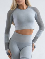 Slim Light Blue Long Sleeve Crew Neck Sport Crop Top Comfort
