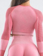 Workout Light Pink Mesh Patchwork Sport Top Full Sleeve Outdoor