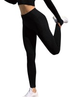 Elasticated Black Full Length Yoga Leggings Mid-Waist Holiday