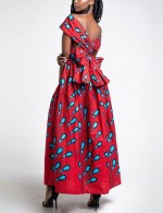 Dazzling Backless Red Waist Front Slit Print Maxi Dress Newest