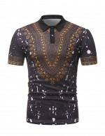 Black Polo Neck African Male Top Short Sleeve Super Faddish