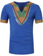 Extreme Blue V Collar African Pattern Male Top Short Sleeve Nice Quality