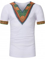 Invigorative White Tribal Print Short Sleeve Male T-Shirt V Neck