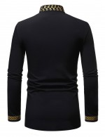 Elaborate Full Sleeve Black Print Male Shirt Stand Collar Garment