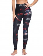 Casual Magical Black Racing Car Print Latest Brushed Leggings Mid Rise Female Fashion