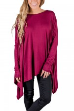 Casual Fascinating Rose Red Full Sleeves Round Neck Blouse Female Fashion