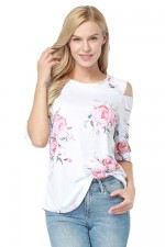 Adorable White Floral Ladder Half Sleeve Blouse Round Neck