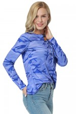 Comfort Outdoor Blue Round Neck Blouse Print Eyelet Amazing Look