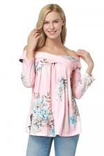 Gentle Fabric Charming Pink Long Off Shoulder Blouse Flower Print
