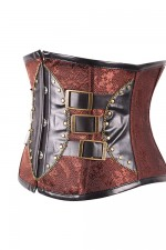 Overbust Corset Brown Leather Underbust Steampunk Corsets