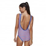 Attractive Colorful Plus Size Backless Striped Swimsuit One Piece