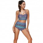 Attractive Chic Floral Bathing Suits Two Pieces High Waist Halters Neck