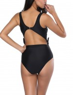 Black Bowknot Straps Swimsuit Diva High Cut Bottom Beach Party Time