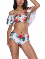 Summer White Floral Printed Swimsuit Flounce Hem Feminine Fashion