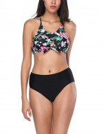Causal Naughty Back Crossover Pink Bikini Teardrop-Shaped Bowknot Swimwear for Pool Party