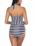 Causal Tropics Plunge Neck Stripes Front Twist Swimsuit Women Fashion Chic Online