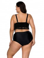 Casual Queen Size High Rise Black Swimwear Wholesale Online Hollow Out