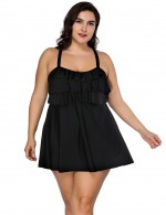 Fashion Forward Plus Size Striking Black Cross Back Layered Swimsuit For Ladies
