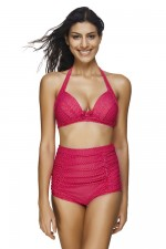 Red Adjustable Halter High Waisted 2 Piece Bathing Suits