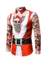 Sexy Man Santa Claus Paint Shirt Button Good Elasticity