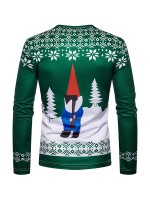 Effortless Colorblock Long Sleeve Santa Claus Shirt For Hanging Out