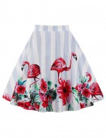 Unique Flowers Print Striped Plus Size Pleated Skirts For Upscale