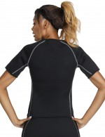 Short Sleeve Black Big Size Neoprene Luminous Zip Shaper Medium Control