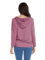 Conservative Purple Letter Paint Hooded Neck Sweatshirt For Women