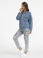 Elegance Blue Print Full Sleeve Button Denim Jacket Form Fit