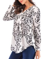 Bewitching Black Curved Hem Shirt Long Sleeve Button Understated Design